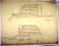 Elevations. Gordon Strong Automobile Objective, Sugarloaf Mountain, MD, 1924-25   Frank Lloyd Wright   Exhibitions - Library of Congress   Frank Lloyd Wright Drawings