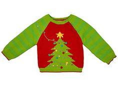 Product review for Hand Knit Boy's Christmas Tree Sweater.  Decorating the Christmas tree can become a yearly tradition and what better way to celebrate than with a matching Christmas tree sweater. Adorned with pom pom ornaments this sweater is sure to become a Holiday favorite. This soft 100% cotton sweater is beautifully hand-crafted using an intarsia...