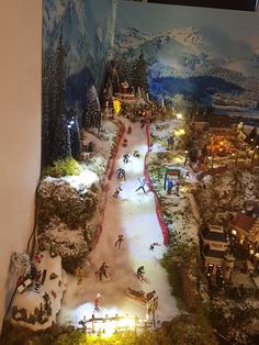 The ski slope<br> Christmas Village Decorations, Christmas Tree Village, Christmas Nativity Scene, Halloween Village, Christmas Town, Christmas Villages, Christmas Photos, Christmas Ornaments, Christmas Craft Projects