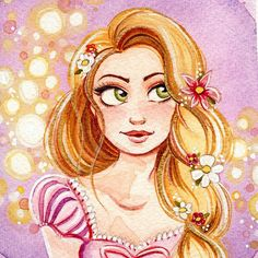 """Megan carrigan fine art ✨Rapunzel 4x4"""" Watercolor Painting. I gave her gold highlights for her magic glowing hair ✨. I made 4x4"""" prints of this for my Etsy shop and also have the framed original. (You can see the previous post for info on the 4th of July sale that's going on now.)✨"""