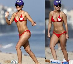 Celebrity body envy. Plus I adore that bathing suit. Hello Kitty <3
