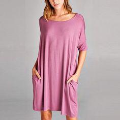 Oversize Mauve 2 Side Pockets Chic Dress