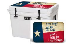 24Mil Thick Skin Wrap Decal Accessories YETI ROADIE 20QT Cooler TEXAS FLAG GO TO