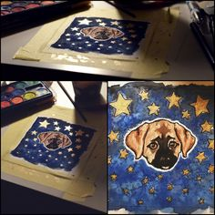 dog water color stars blue