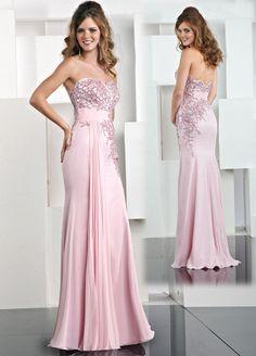 Chiffon Modified Sweetheart Hand-Beaded Bodice Long Prom Dress