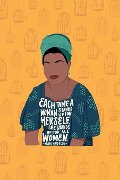 """8"""" x 10"""" art print illustration of Maya Angelou with the quote, """"Each time a woman stands up for herself, she stands up for all women."""" Create your own vibrant gallery wall with our feminist art prints — designed for women by women."""