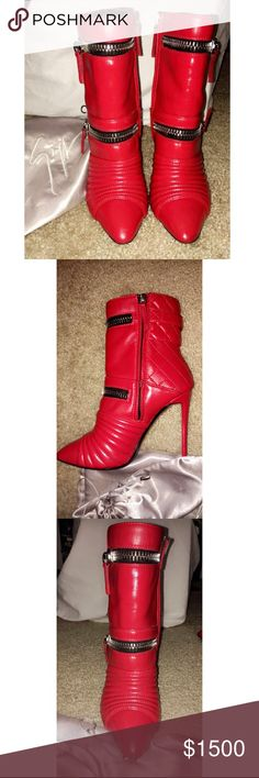 Giuseppe Zanotti Biker Heels Giuseppe Zanotti Red Calf Leather Biker Boots 2014 Fall Collection, slight wear marks as shown in pics, just got the boots leather cleaned and conditioned. Bought them in Milan, Italy so there is no shoe box due to save space on my return home but it does come with Original dust bag. Giuseppe Zanotti Shoes Heeled Boots