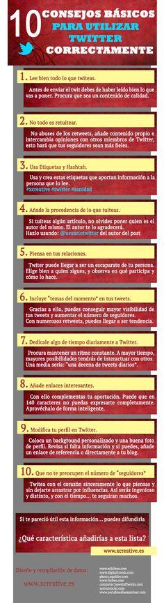 10 consejos básicos para utilizar Twitter correctamente. #Infografía en español