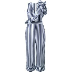 MSGM striped jumpsuit ($505) ❤ liked on Polyvore featuring jumpsuits, white, striped jumpsuit, jump suit, msgm, white jumpsuit and cotton jumpsuit
