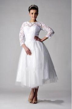 Short Wedding Dresses   Informal Short Wedding Dresses with Sleeves