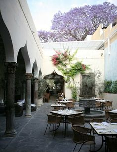 Beautiful courtyard at The Restaurant, San Miguel de Allende, Mexico http://www.therestaurantsanmiguel.com/