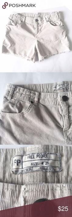 "FREE PEOPLE Light gray corduroy frayed Shorts Free People light gray lightweight shorts in corduroy. Frayed hem and bleach markings throughout give these Shorts a vintage feel. Zipper and button closure. Waist 15.2"". Rise 9.2"". Inseam 4"". Cotton and spandex. Free People Shorts"