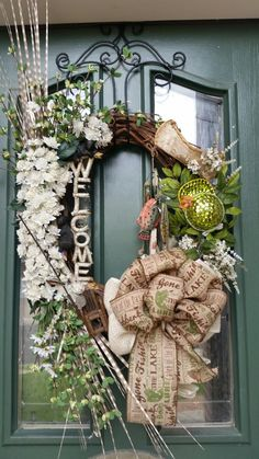 Fishin Wreath, Cabin Wreath, Lake House Wreath, Welcome Wreath, Woodland Wreath, Bear Wreath, Birchbark Wreath