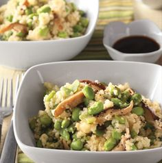 Just think of Edamame Couscous as a slightly Asian take of a pasta salad. Great warm or at room temperature. It's also fabulous with sliced baby bella mushrooms.