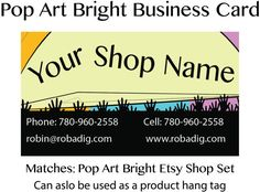 This fun, bright business card matches our Easy shop set! It can be used as a stand alone or as part of the set. It makes a great product hang tag and adds a professional touch to add into packages that you ship.  The bold design is sure to get notices and not hidden in with the piles of paper we all gather each week. The listing is for a DIGITAL FILE that you can then either print at home or upload to your favourite print service to order cards.  The file can be sent in either PNG or Jpeg…