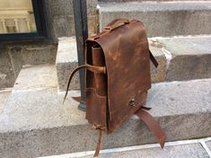 Laight backpack, handmade leather bag, brown leather rucksack, large leather…