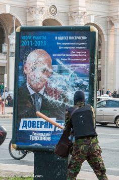 Pro-Ukrainian activists destroy Advertising Constructions
