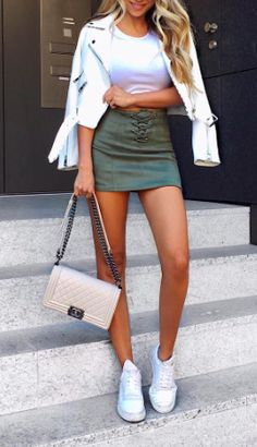 Heatonminded / Pinterest Green Outfits, Summer Outfits, Denim Skirt, Leather Skirt, Long Legs, Summer Clothes, Sexy Legs, Different Styles, Suitcase
