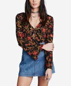 Free People Bell-Sleeve Floral Top | macys.com