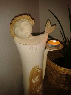 Lantern Candle Holders, Candle Lanterns, Ceramic Angels, Decoration, Ceramic Art, Vase, Dolls, Christmas, Projects