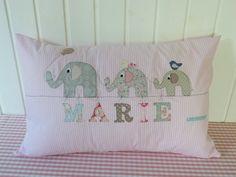 """Namenskissen - Süßes Namenskissen """"'Elefanten Spaziergang... - ein Designerstück von julis-fairy-tale bei DaWanda"""