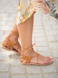 Lace Up Natural Leather Sandals, Womens Lace Up Sandals, Tie Up Leather Sandals, Crete Tan Elegant Lace Up Women's Flat Shoes, Women's Lace Up Sandals, Tan Leather Sandals, Natural Leather, Leather And Lace, Leather Flip Flops, Summer Shoes, Womens Flats, Me Too Shoes, Sneakers