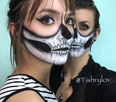 Half Skull Model- @tishrylov and @mashaaa__17  Photography by: @atan_media  Body/face painting by: @tishrylov  #halfskull #skull #badass  #facepaint #bodypaint #mehron #urbandecay #ppipremiereproducts #art #bodyart #skull #butterfly #tattoo #canon  #photogarphy #photographer #photograph