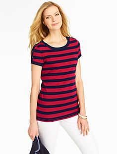 Talbots - Stretch Weekend Striped Shoulder-Button Tee | Tees and Knits |