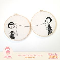 Lydia's Lovelies — BFF Embroidery Set PDF Pattern by flapperdoodle Embroidery Designs, Learn Embroidery, Embroidery Hoop Art, Hand Embroidery Patterns, Cross Stitch Embroidery, Hungarian Embroidery, Embroidery Jewelry, Bff, Bordados E Cia