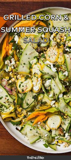 Charred corn and raw shaved summer squash, tossed with salty feta and smoky nigella seeds.