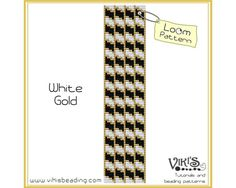 Loom Pattern for Bracelet: White Gold - INSTANT DOWNLOAD pdf - Buy 2 Get 1 free with coupon codes - bl119