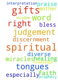 Spiritual Gifts -  Dear Lord Jesus I pray to have all the spiritual gifts especially the word of knowledge, spiritual discernment, miracles, word of wisdom, faith, prophecy, Diverse Tongues, Interpretation of Tongues and healing. I pray also for right judgement. I pray for my mother to have right judgement and the other gifts. I pray for this in your name Lord Jesus, Amen. Praise, bless and thank you Lord Jesus.  Posted at: https://prayerrequest.com/t/LYu #pray #prayer #request…