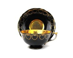 Antique Gatsby Gold & Black Tea and Saucer Set 1940s Royal Sealy China Japan Old Hollywood Floral Fruit Still Life Art Deco Collectible Gift