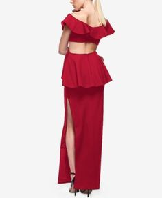Fame and Partners Ruffled V-Neck Cutout Dress