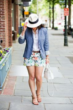 Floral shorts, chambray blazer, panama hat-2.jpg by LyddieGal, via Flickr