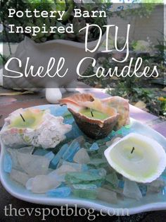 DIY-Recycled candles and repurposed shells make great Pottery Barn Inspired Shell Candles