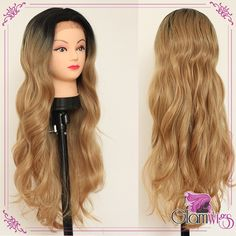 Long Body Wave Ombre Brown Synthetic Lace Front Wig Glueless Ombre Black And Brown Heat Resistant Blonde Hair Synthetic Wigs