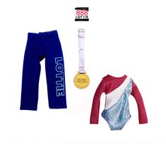 Raising the Bar Lottie Doll gymnastics outfit comes with a set of training tracksuit pants, a gymnastics leotard, a competition number, and a gold winner's medal. Gymnastics Set, Gymnastics Competition, Gymnastics Outfits, Gymnastics Leotards, 9 Year Old Girl, Tracksuit Pants, Keep Warm, Outfit Sets, American Girl