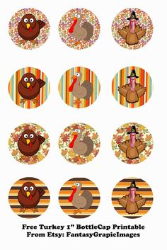 "Free Thanksgiving Turkey Printable Bottle Cap - 1"" Circle Collage Sheets from Etsy Store FantasyGraphicImages"