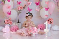 1st Birthday Party For Girls, Diy Birthday Banner, 1st Birthday Pictures, Girl Birthday Decorations, 1st Birthday Themes, Girl Baby Shower Decorations, Birthday Cake Smash, Baby Birthday, Butterfly Birthday Party