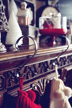 Stocking Hangers by Sterling Pear. The Stocking Scroll is an innovative and elegant way to display every family member's stocking even with limited space, on ornate surfaces or moldings. Christmas Holidays, Christmas Crafts, Christmas Decorations, Holiday Decor, Stocking Hanger, Moldings, Hangers, Storage Ideas, Pear