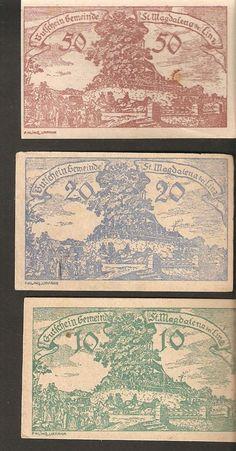 Austria St. Magdalena bei Linz in Ober-Österreich 10 20 50 heller 1920 Notgeld