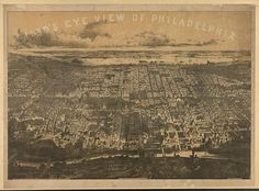 Bird's eye view of Philadelphia - Schuylkill river in foreground, looking east.