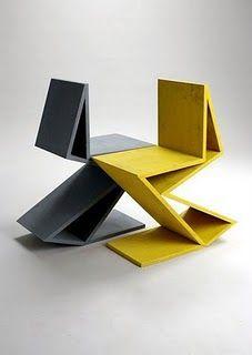 mobilier : chaises Rietveld, gris - jaune: