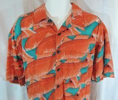 Kroks Men's Large Hawaiian Camp Shirt Orange Koi Fish Redfish Short Sleeve  #Kroks #Hawaiian
