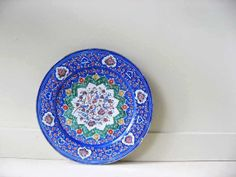 Vintage Minakari Enamel Hand Painted Copper Footed Plate Wall Hanging Blue Green Red Rustic