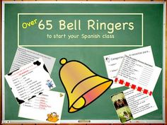 A Microsoft POWERPOINT slide show of 69 different bell ringer activities to use to start your Spanish class. These Spanish 1 concepts review material and are a great way to get the class started. You can certainly adapt any slide to your own preferences.