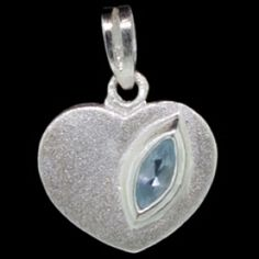 Silver pendant,  CZ, heart Silver pendant, Ag 925/1000 - sterling silver. With stones (CZ - cubic zirconia). A satin finish heart design set with an oval zircon. Dimensions approx.16x18mm.
