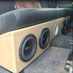 Shop at for a shoutout Truck Subwoofer Box, Custom Subwoofer Box, Subwoofer Box Design, Speaker Box Design, Vw Bus, Volkswagen 181, Car Stereo Speakers, Custom Car Audio, Car Audio Installation