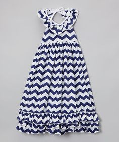 This Navy Chevron Ruffle Maxi Dress - Infant, Toddler & Girls by The Princess Pea is perfect! #zulilyfinds